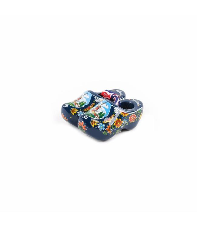 12 stuks Houten klomp paar Holland blauw 8 cm