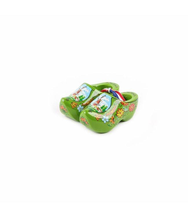 12 stuks Houten klomp paar Holland groen 8 cm