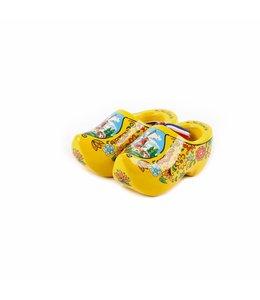 12 stuks Houten klomp paar geel 10 cm