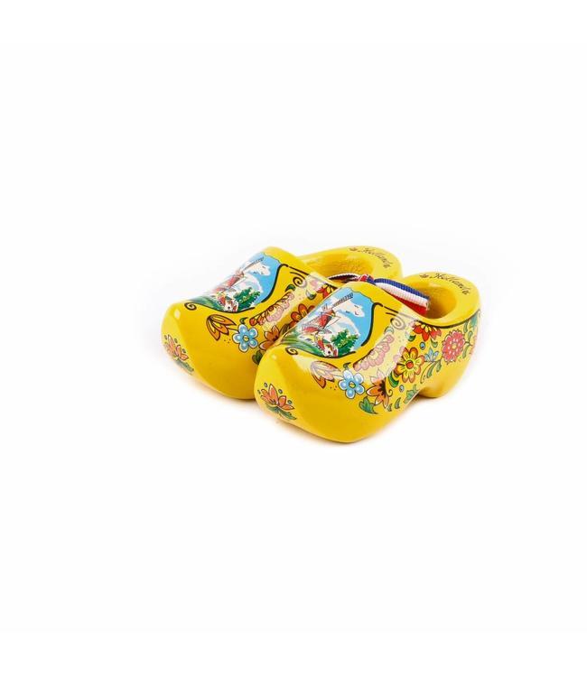 12 stuks Houten klomp paar Holland geel 10 cm