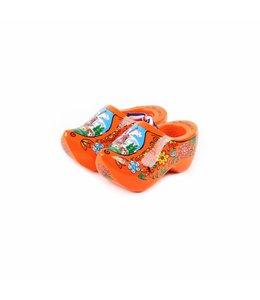 12 stuks Houten klomp paar Holland oranje 10 cm