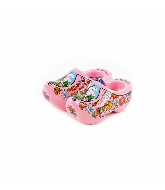 12 stuks Houten klomp paar Holland roze 10 cm