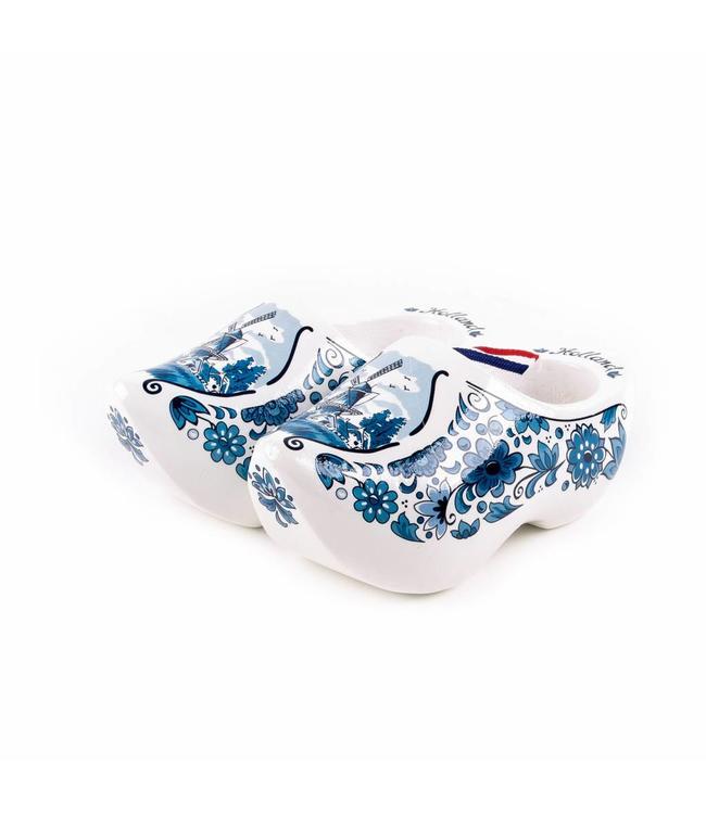 6 stuks Houten klomp paar Holland delftsblauw 14 cm