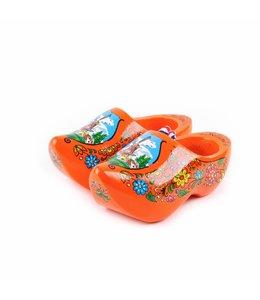 6 stuks Houten klomp paar Holland oranje 14 cm