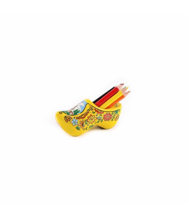 8 stuks Klomp met slijper en potloden geel