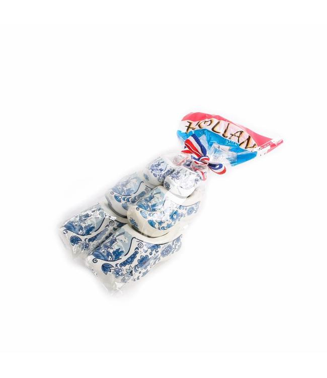 8 stuks 3 klompen in zak Holland delftsblauw 4-6-8 cm