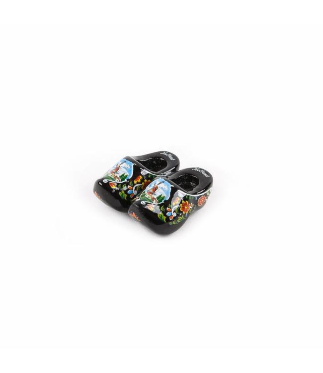 12 stuks Magneet klompen 5 cm Holland zwart