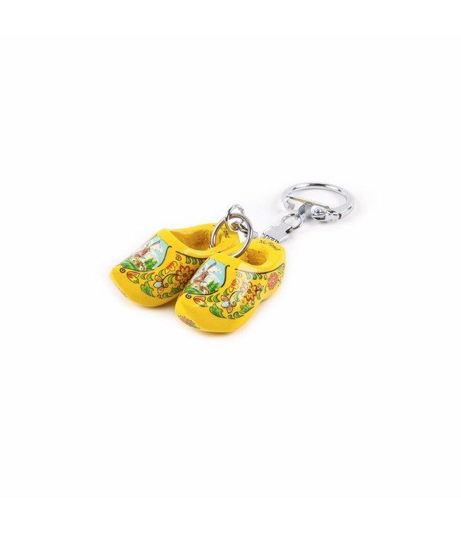 12 stuks Sleutelhanger klomp dubbel Holland geel 4 cm