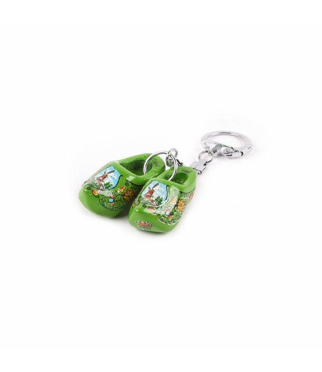 12 stuks Sleutelhanger klomp dubbel Holland groen 4 cm