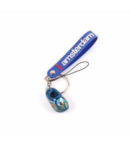 12 stuks Sleutelhanger strap met klomp blauw Amsterdam