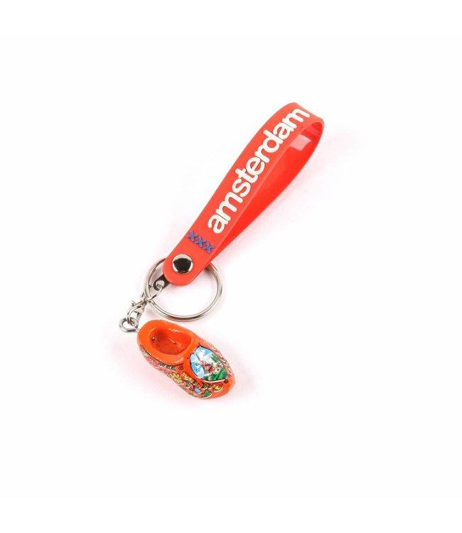 12 stuks Sleutelhanger strap met klomp oranje Amsterdam