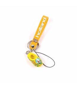 12 stuks Sleutelhanger strap met klomp geel Holland