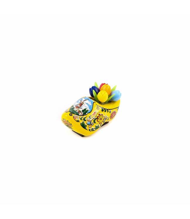 12 stuks Magneet klomp met tulpen Holland geel 5 cm