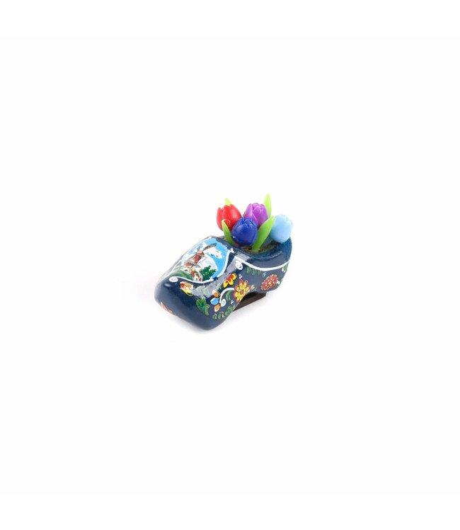 12 stuks Magneet klomp met tulpen Holland blauw 5 cm