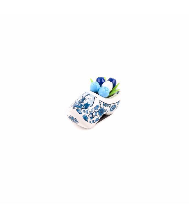 12 stuks Magneet klomp met tulpen Holland delftsblauw 5 cm