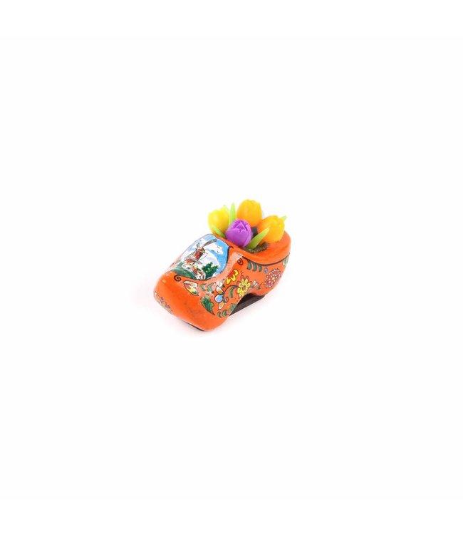 12 stuks Magneet klomp met tulpen Holland oranje 5 cm