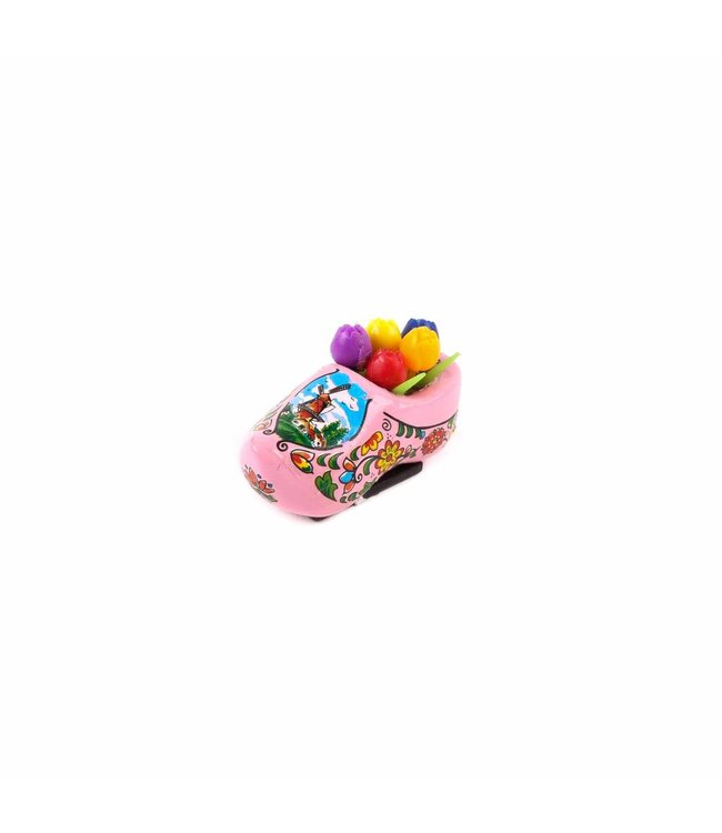 12 stuks Magneet klomp met tulpen Holland roze 5 cm