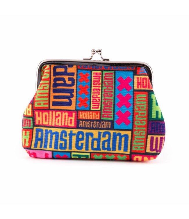Knip portemonnee groot Amsterdam XXX multicolor