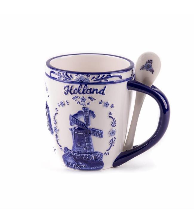 Delftsblauw embossed beker lepel molens Holland