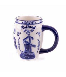 Delftsblauw embossed beker molens Holland