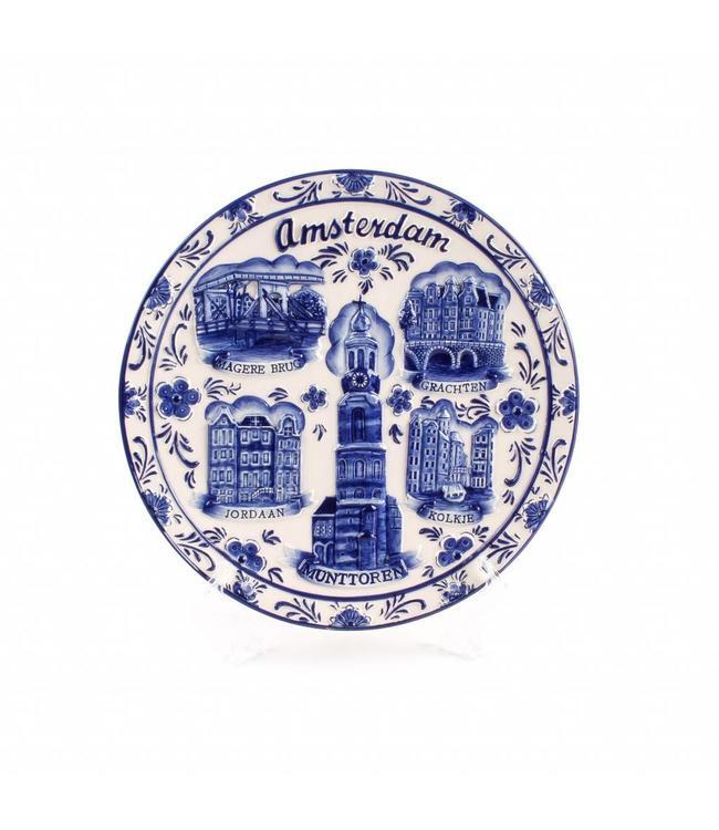 Delftsblauw embossed bord 20 cm Amsterdam