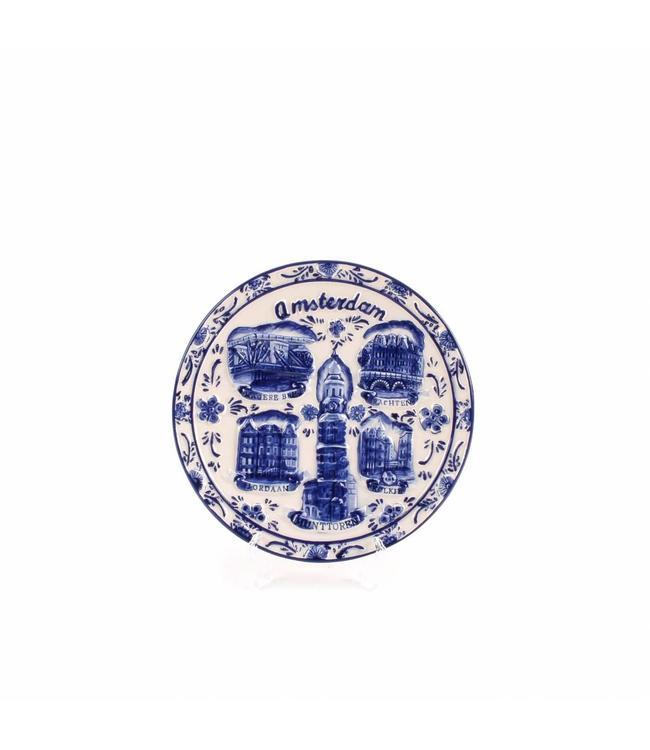 Delftsblauw embossed bord 15 cm Amsterdam