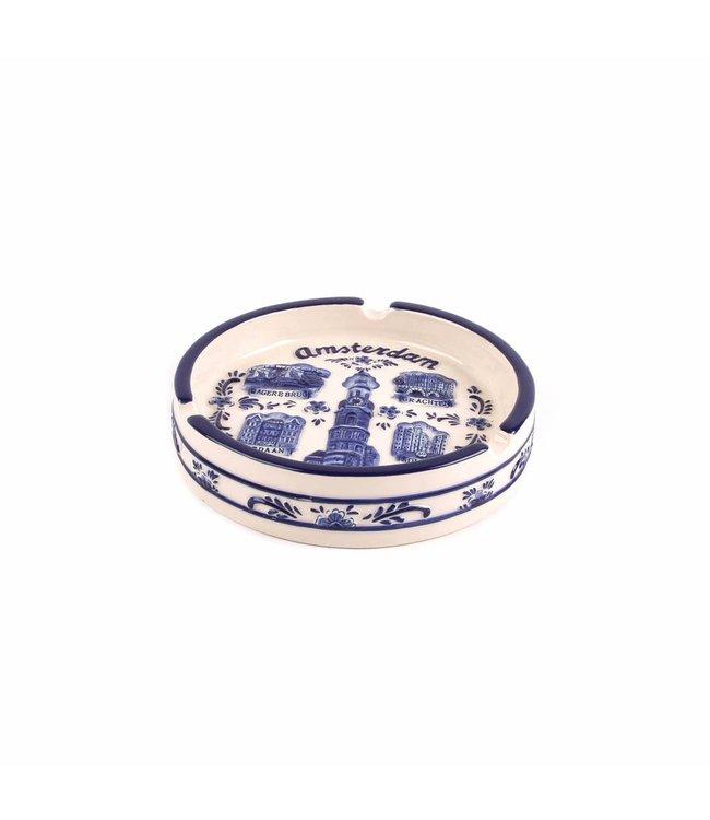 Delftsblauw embossed ronde asbak groot A'dam