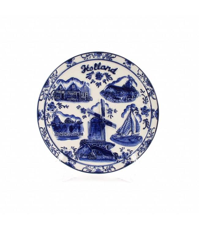 Delftsblauw embossed bord 20 cm Holland