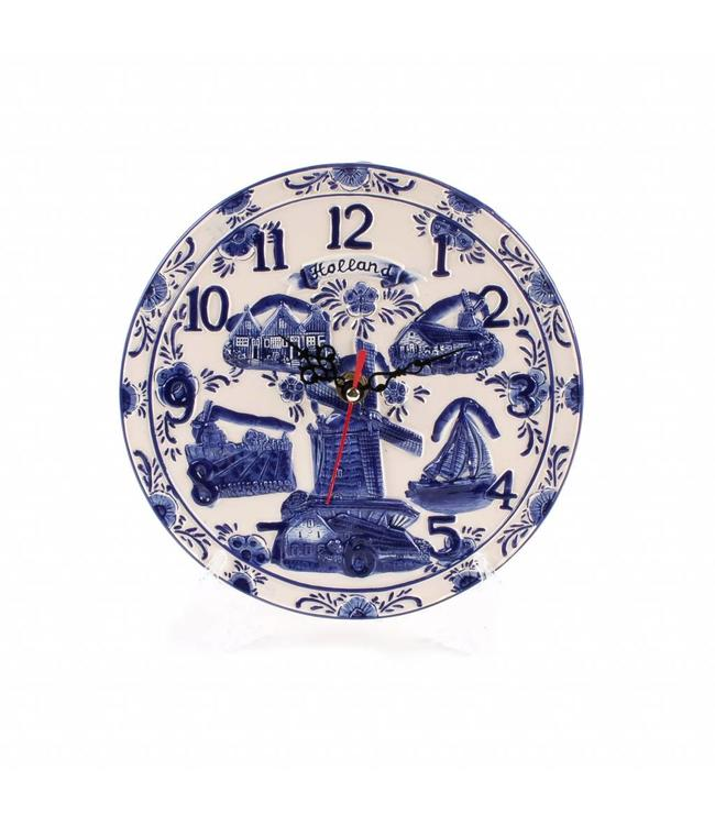 Delftsblauw embossed klok bord 20 cm Holland
