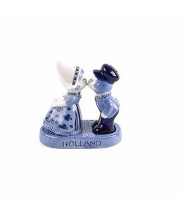 Peper & zout kussend paar delftsblauw