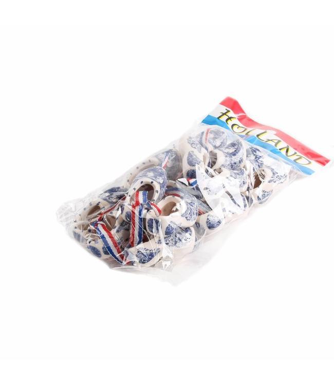 10 stuks Klomp paar 5 cm delftsblauw in zak