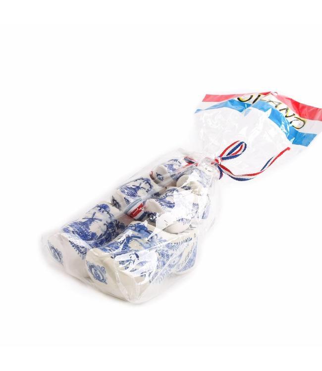 1 stuks 3x  klomp paar 5-7-10 cm in zak delftsblauw
