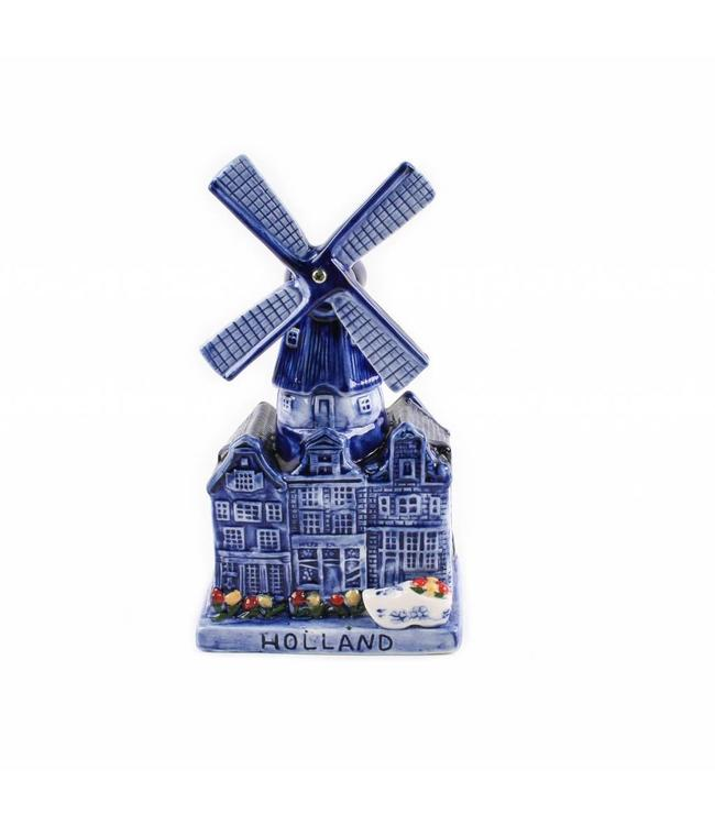 Muziekmolen stadsmolen delftsblauw Holland 16 cm