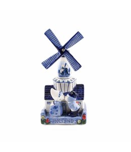 Muziekmolen kuspaar delftsblauw Holland 16 cm