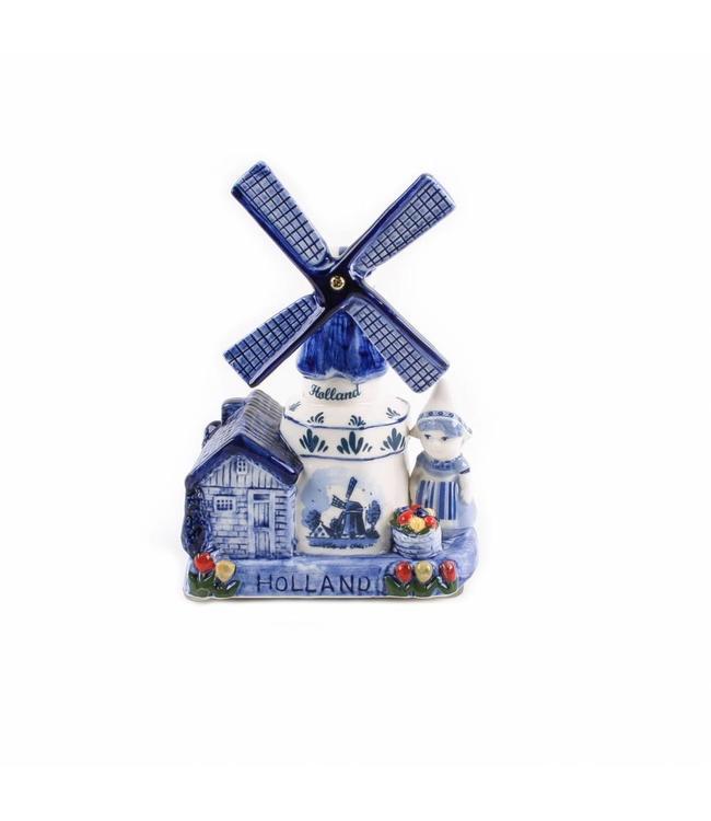 Muziekmolen boerin delftsblauw Holland 16 cm