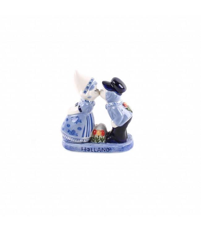 Kuspaar 10 cm met tulpen delftsblauw