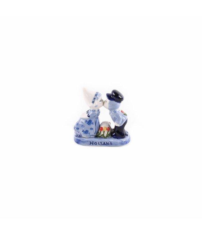 Kuspaar 8 cm met tulpen delftsblauw
