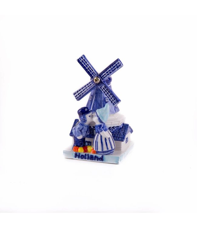 Molen met kuspaar delftsblauw Holland 10 cm