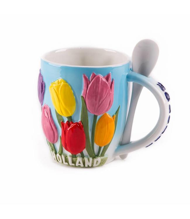 Beker met lepel tulpen Holland 'Zuiderzee'