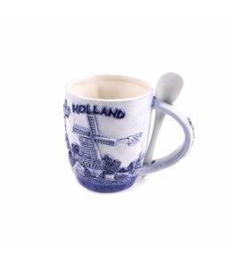 Beker met lepel delftsblauw Holland �Zuiderzee�