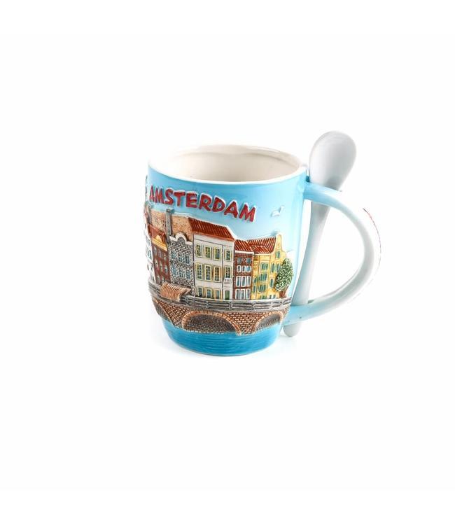 Beker met lepel color Amsterdam �Zuiderzee�