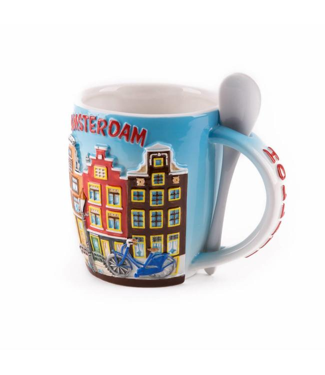 Beker met lepel huisjes Amsterdam color 'Zuiderzee'