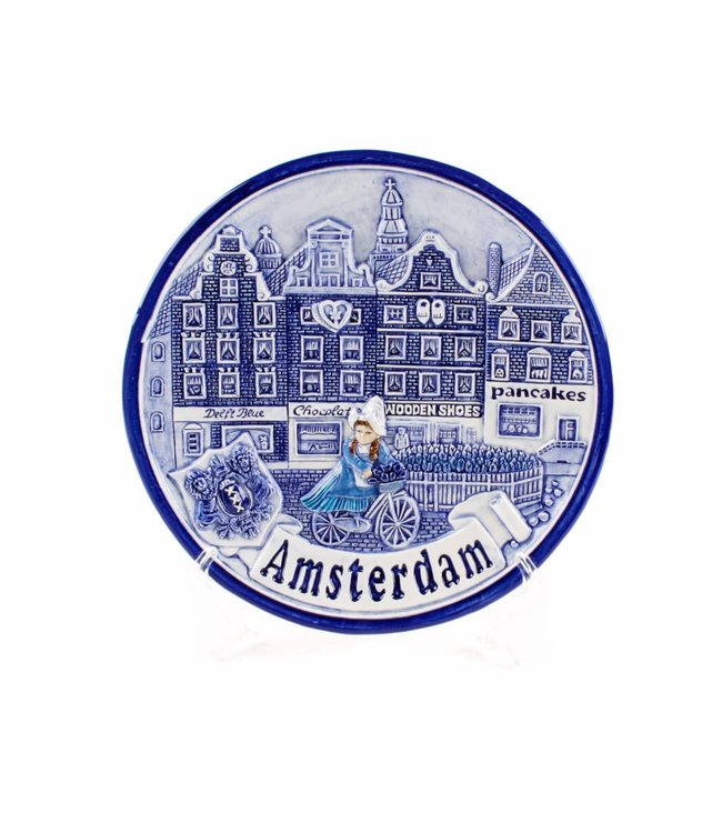 Bord 20 cm delftsblauw Amsterdam gracht 'Zuiderzee'