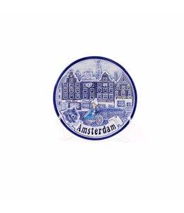 Bord 10 cm delftsblauw Amsterdam gracht 'Zuiderzee'
