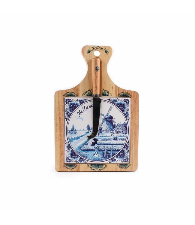 Kaasplank 28 x 19 cm delftsblauw met mes Holland
