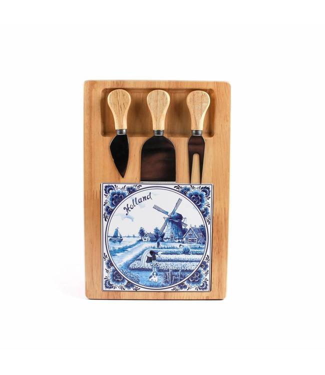 Kaasplank 30 x 20 cm delftsblauw met 3 mesjes