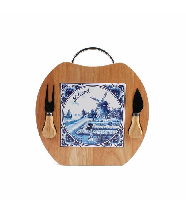 Kaasplank appelvorm met mes delftsblauw