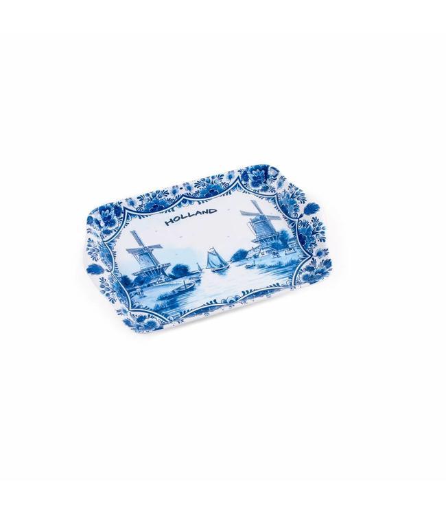 6 stuks Dienblad delftsblauw Holland 21 x 14 cm