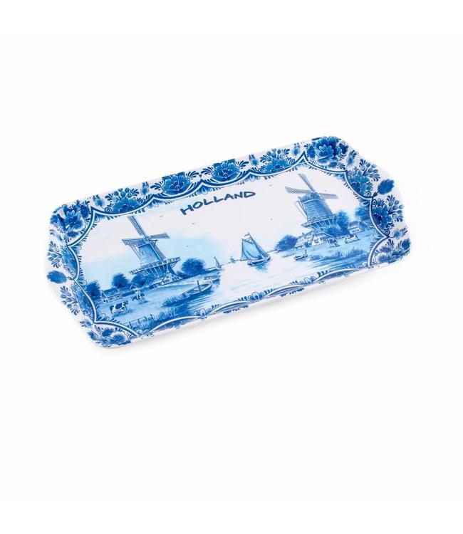 6 stuks Dienblad delftsblauw Holland 30 x 15 cm