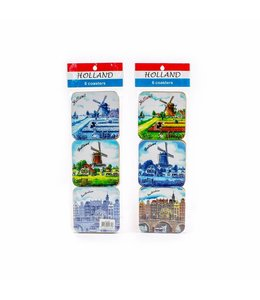 Coasters molen mix color/delftsblauw Holland
